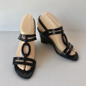 Wedge Heels Strappy Black Sz 6 LIFE STRIDE NWOB